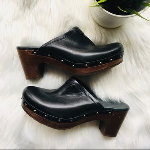 UGG Sheepskin Interior Black Leather Clogs 6